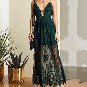 X by NBD Revolve Stella Dress in Hunter Green Lace